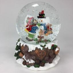 Palla di neve con orsetto e pupazzo di neve