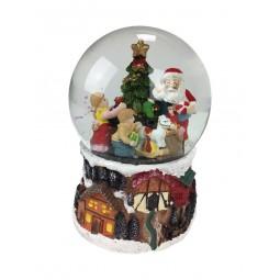 Palla di neve con Babbo Natale che distribuisce i regali