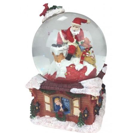 Camino Di Babbo Natale.Sfera Di Neve Babbo Natale Nel Camino