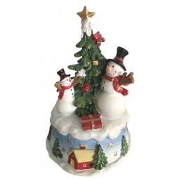 Carillon pupazzi di neve all'albero di Natale