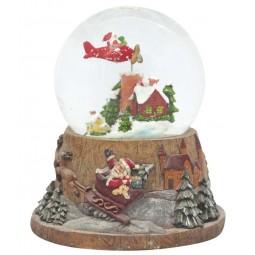 Carillon palla di neve con Babbo Natale volante