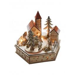 Carillon di legno, scena di villaggio invernale