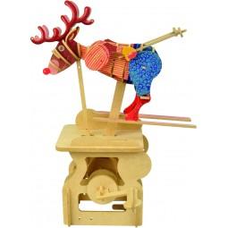 """Puzzle tridimensionale """"alce sciatore"""" in legno"""