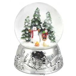 Sfera Pupazzo di neve argento 100 mm