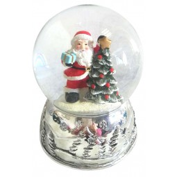Snow globe Santa on the tree 80 mm