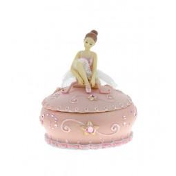 Scatola portagioie rosa con ballerina