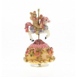 Orsetto con cavallo da giostra rosa