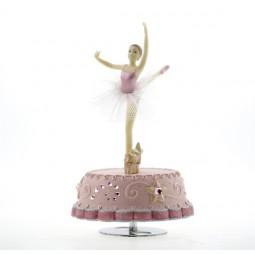 Carillon rosa con ballerina danzante