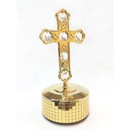 Gold plated iron musical box with Cross
