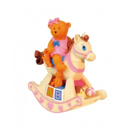 Music box pink bear on rocking horse