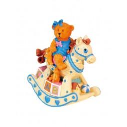 Orsachiotto su cavallo a dondolo azzurro