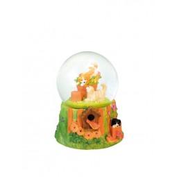Glitter globe dogs in a garden