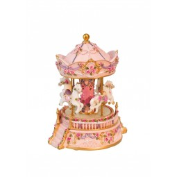 Rose-coloured carousel with flowers
