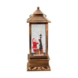 "Musicbox ""Rectangular black lantern with glitter globe"""