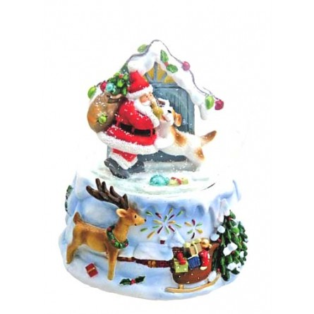 """Snowglobe """"Santa with dog"""""""
