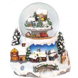 """Snowglobe """"mountain landscape with trains"""""""