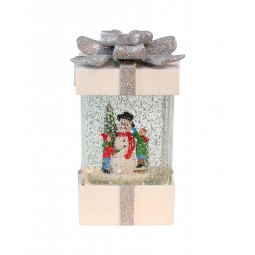White present with glitter globe