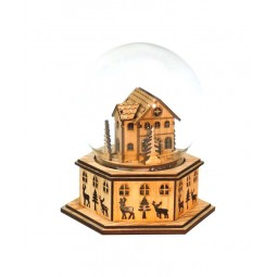 """Globe """"House"""". Wooden base and wooden objects in the globe"""