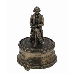 Figura in pietra policroma di Beethoven con finitura in metallo