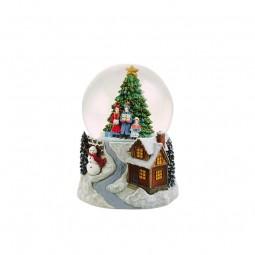 Palla di neve 100 mm con scena Albero di natale
