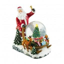Babbo Natale con una palla di neve sulla sua slitta