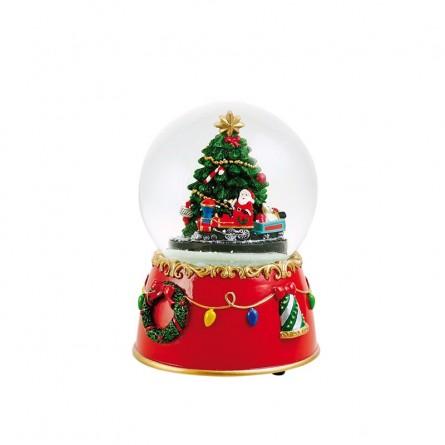Palla di neve con albero di Natale e treno