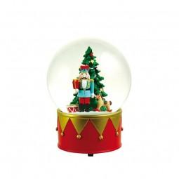 Palla di neve 120 mm con uno schiaccianoci e un albero di Natale