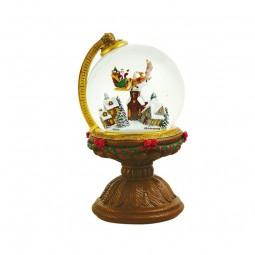 Pupazzo di neve che vola e Babbo Natale in una palla
