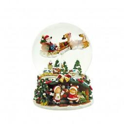 Palla di neve 150 mm con Babbo Natale volante e slitta