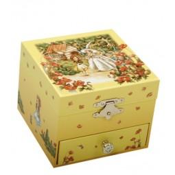 Cofanetto porta gioie, ricoperto di carta litografata con cassetto