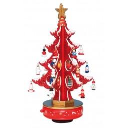 6er Albero rosso con brillantini 320 mm