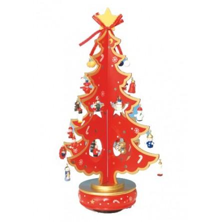 Albero Di Natale In Legno.Albero Di Natale Rosso 380 Mm