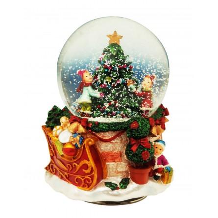 Palla Di Neve 80 Mm Con Albero Di Natale