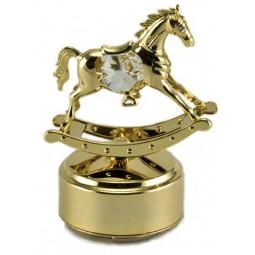 Cavallo a dondolo dorato con due cristalli austriaci