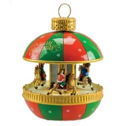 Pallina per albero di Natale con scena di giostra integrata