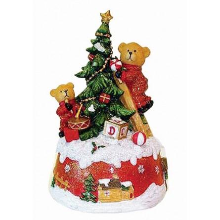 Orsetti che decorano l albero di Natale
