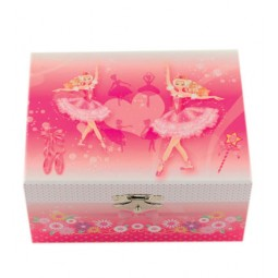 Cofanetto porta gioie rosa con ballerina
