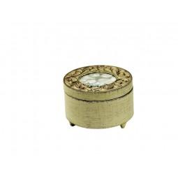 Scatola antica rotonda n legno bianco