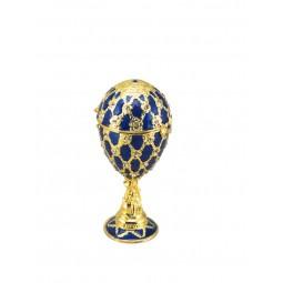 Porta gioielli in stile uovo Fabergé blu