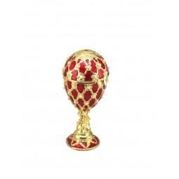 Porta gioielli in stile uovo Fabergé rosso