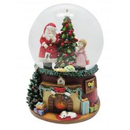 Palla di neve Babbo Natale & ragazza all'albero di Natale