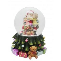Sfera Babbo Natale e bambino in grembo