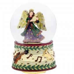 Palla di neve con motivo d'angelo e la base decorata con note musicali