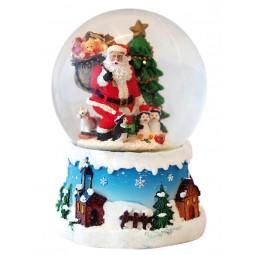Palla di neve, Babbo Natale con pinguini