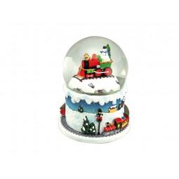 Palla di neve treno con pupazzo di neve