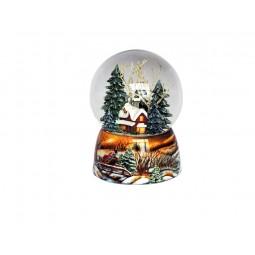 Palla di neve foresta invernale