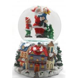 Palla di neve Babbo Natale con bambini