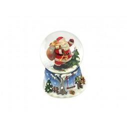 Palla di neve blu Babbo Natale