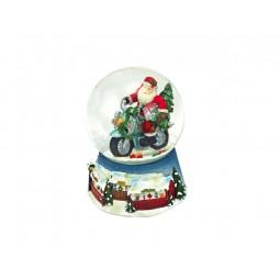 Palla di neve blu, Babbo Natale su una moto